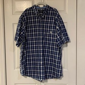 Chaps Navy Plaid Short Sleeve Button Down